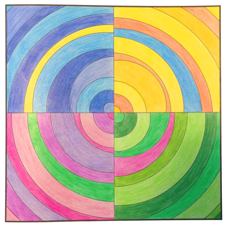 Coloring Exercise titled Moving Target from The Quilt Design Coloring Workbook as colored by Katherine (my wife).