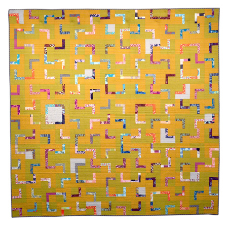 """Barriers: Green Book (2016) This quilt was inspired by the """"The Negro Travelers' Green Book"""" published by Victor Green (an African-American postal worker from New Jersey) from 1936 to 1966. Learn more about the Green Book at the Schomburg Center for Research in Black Culture at the NYPL."""